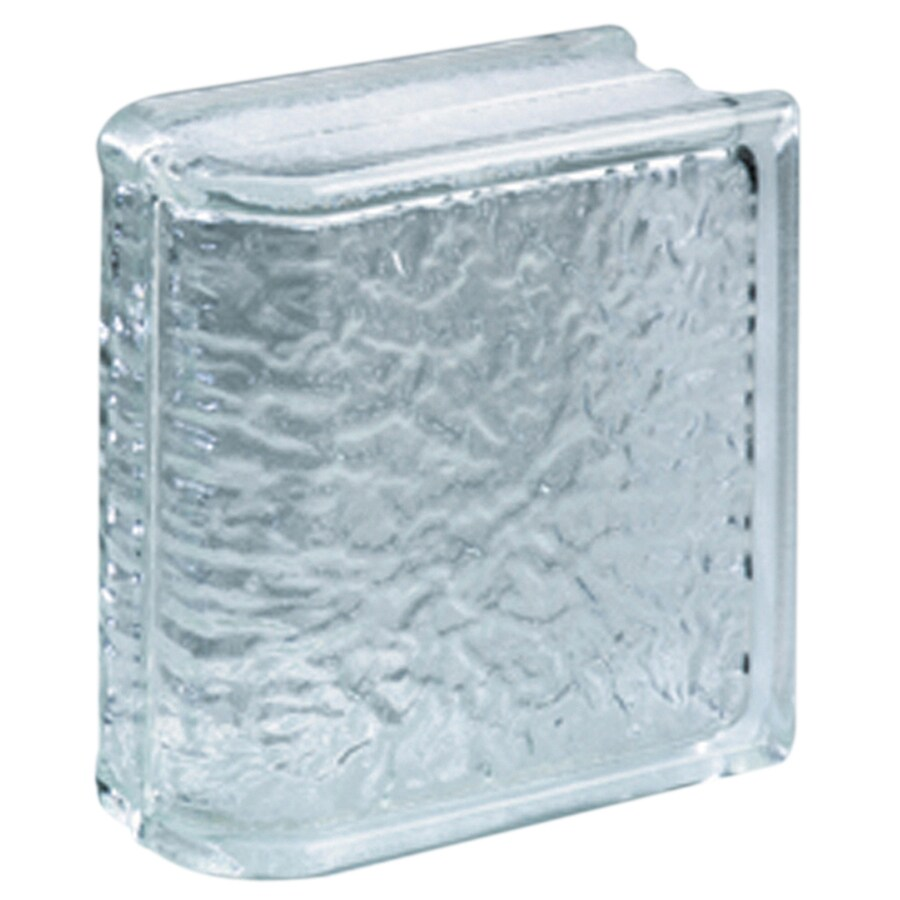 Pittsburgh Corning Endblock Icescapes Premiere Glass Block (Common: 8-in H x 8-in W x 4-in D; Actual: 7.75-in H x 7.75-in W x 3.87-in D)