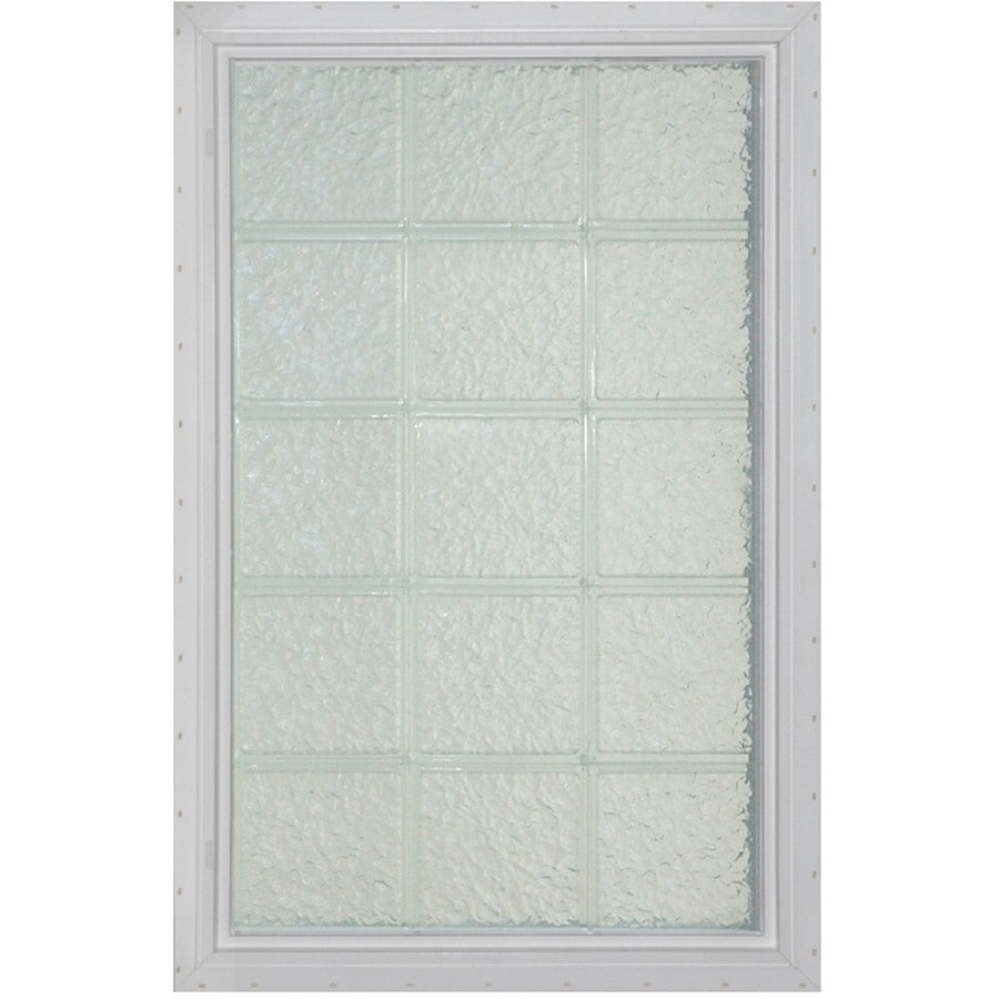 Pittsburgh Corning LightWise Icescapes White Vinyl New Construction Glass Block Window (Rough Opening: 17.625-in x 48.75-in; Actual: 16.375-in x 47.75-in)