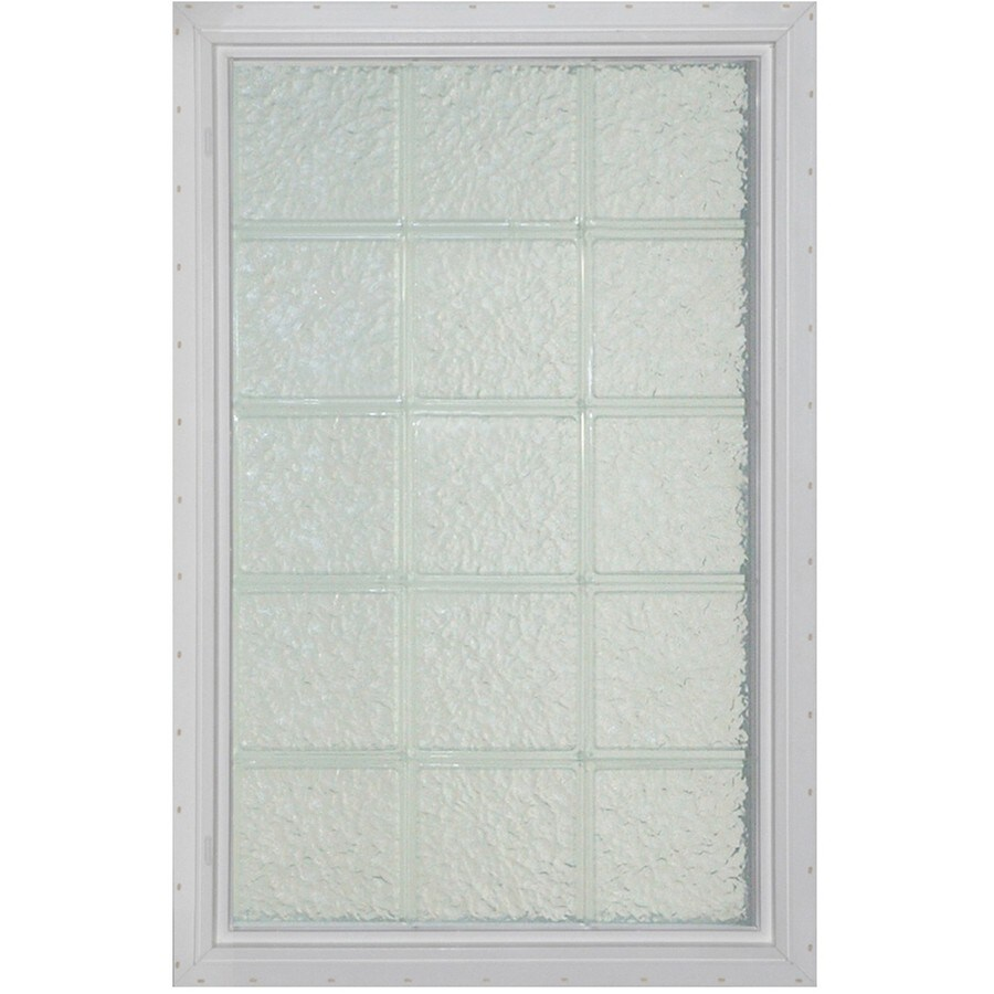 Pittsburgh Corning LightWise Icescapes White Vinyl New Construction Glass Block Window (Rough Opening: 25.375-in x 40.9375-in; Actual: 24.375-in x 39.9375-in)