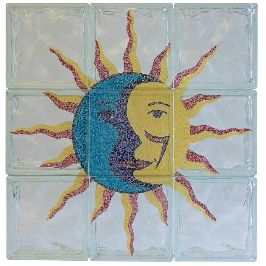 Pittsburgh Corning Expressions Sun & Moon Mural Glass Block (Common: 24-in H x 24-in W x 4-in D; Actual: 23.75-in H x 23.75-in W x 3.87-in D)