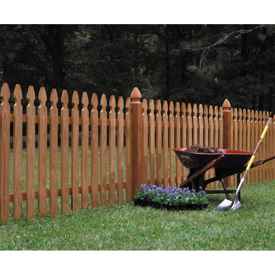 "Wood Fencing 42"" x 8' Premium Cedar Gothic Picket Fence Panel"