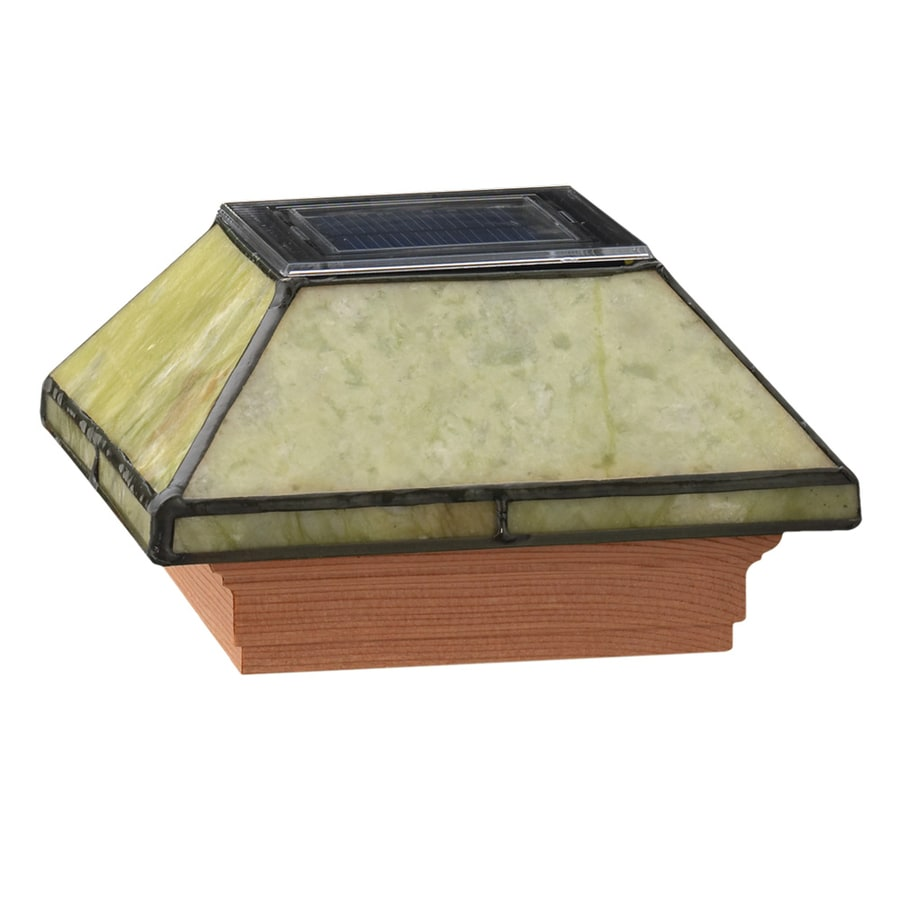 Maine Ornamental 4-in x 4-in Jade Glass and Wood Solar Post Cap