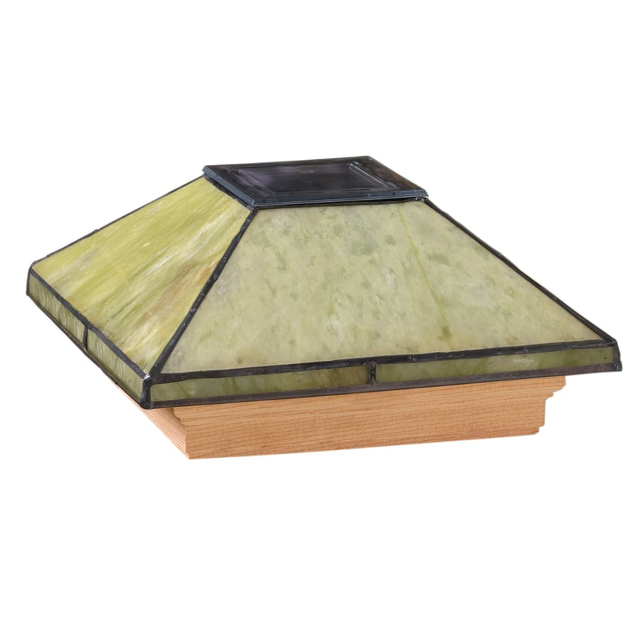 Maine Ornamental 6-in x 6-in Jade Glass and Wood Solar Post Cap