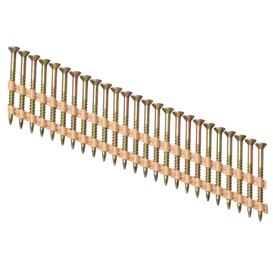 PneuScrew 1000-Count #9 x 1.75-in Flat-Head Yellow Zinc Square-Drive Interior Wood Screws
