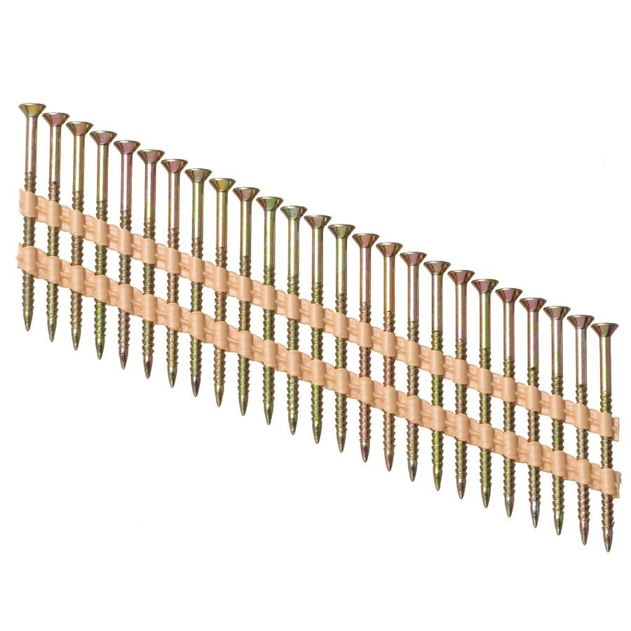 PneuScrew 1000-Count #8 x 2.25-in Flat-Head Yellow Zinc Interior Wood Screws