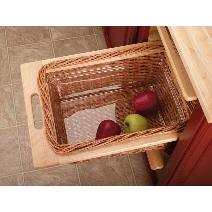 Rev-A-Shelf 14.25-in W x 21.25-in D x 7.38-in H 1-Tier Wood Pull Out Cabinet Basket
