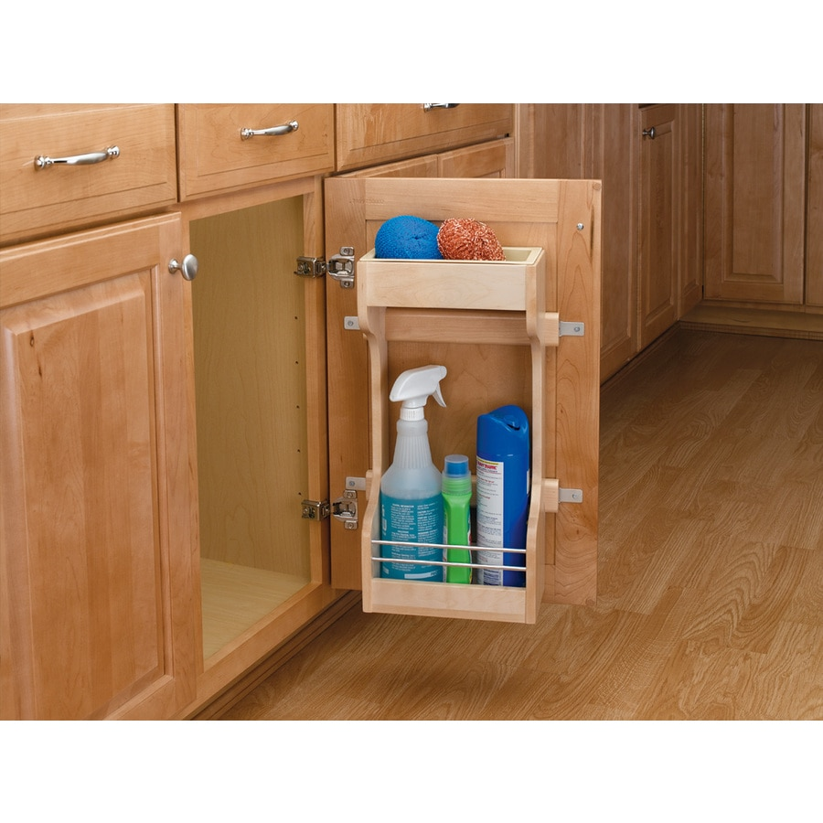 Shop rev a shelf 13 5 in w x h wood 1 tier cabinet door storage organizer at - Lowes kitchen shelving ...