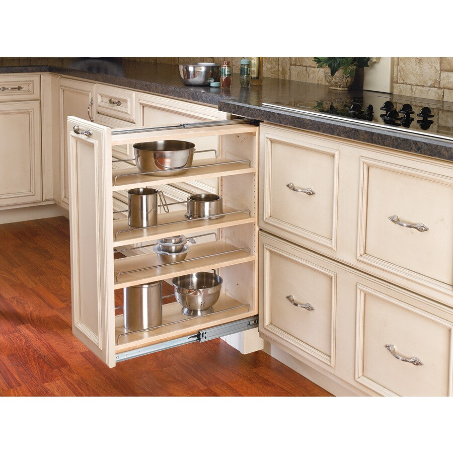 Rev-A-Shelf 9-in W x 30-in H Wood 4-Tier Pull Out Cabinet Shelf