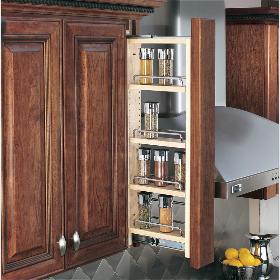 Shelves For Kitchen Cabinets: Shop Rev-A-Shelf 3-in W X 42-in H Wood 4-Tier Pull Out