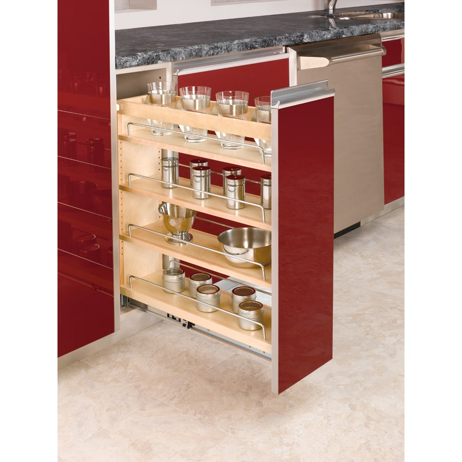 Rev-A-Shelf 8-in W x 25.48-in H Wood 1-Tier Cabinet Shelf