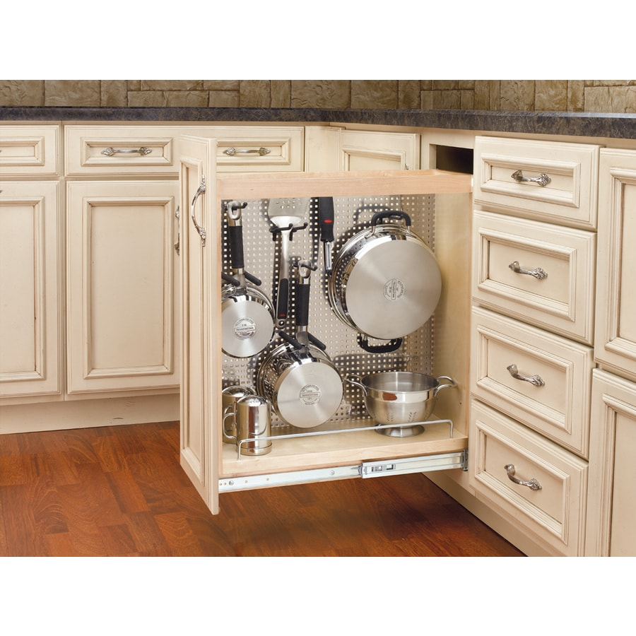 Shop rev a shelf 8 in w x 25 5 in h wood 1 tier cabinet - Bathroom cabinet organizers pull out ...