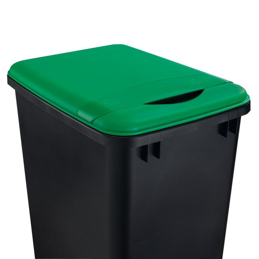 Shop rev a shelf green plastic kitchen trash can lid at for Kitchen trash cans with lids