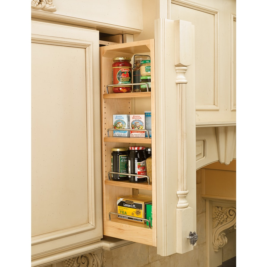Shop Rev A Shelf 6 In W X 39 In H Wood 4 Tier Pull Out Cabinet Shelf At