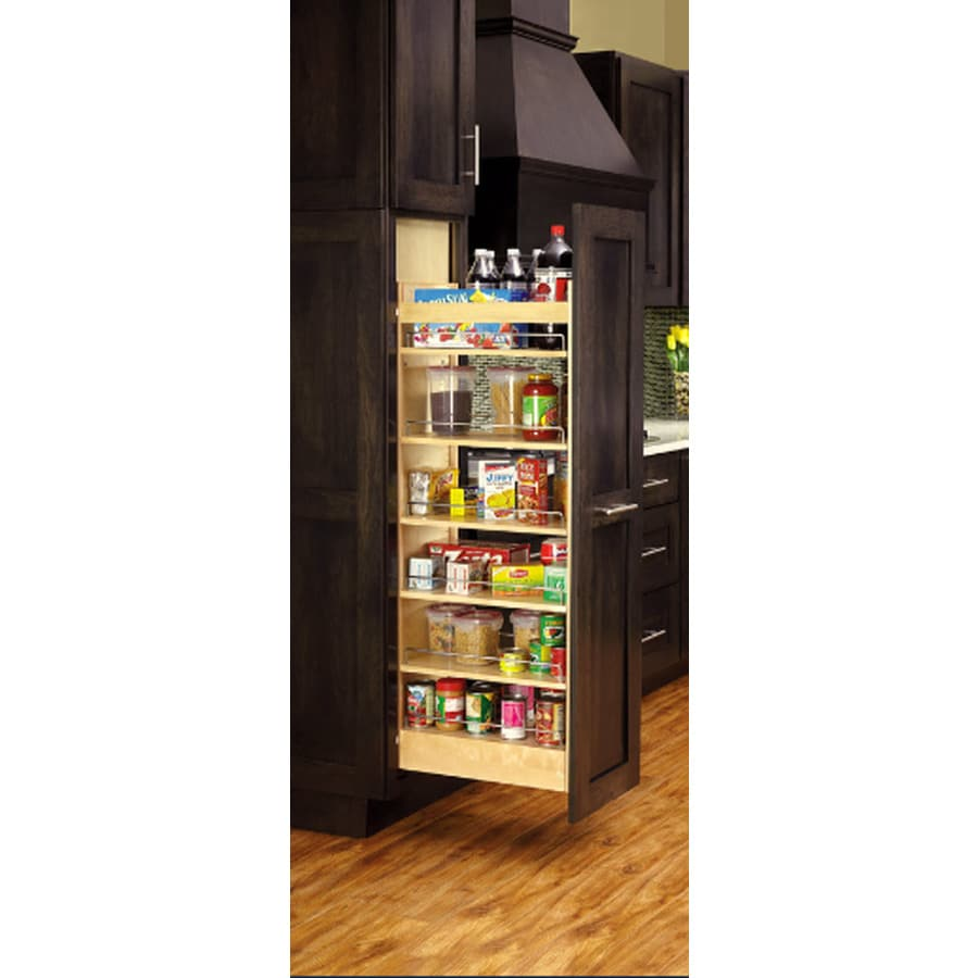 Rev-A-Shelf 11-in W x 51.81-in H Wood 1-Tier Cabinet Pantry