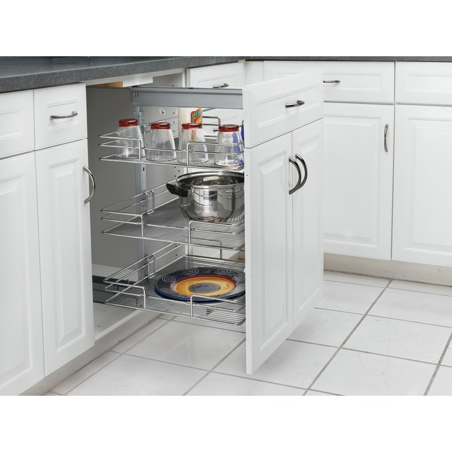 Rev-A-Shelf 14.75-in W x 26.38-in H Metal 3-Tier Pull Out Cabinet Pantry