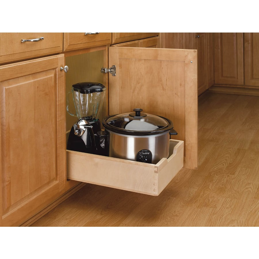 Rev-A-Shelf 14-in W x 22.5-in D x 5.62-in H 1-Tier Wood Pull Out Cabinet Basket