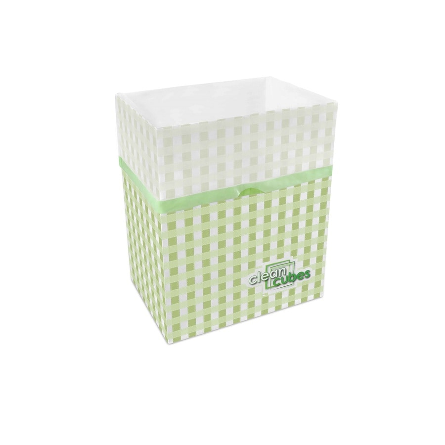 Clean Cubes 3 10-Gallon Green Gingham Recycling Bin