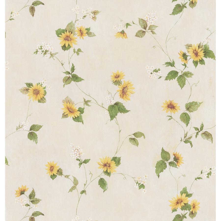 Shop brewster wallcovering yellow sunflower peelable vinyl for Prepasted wallpaper