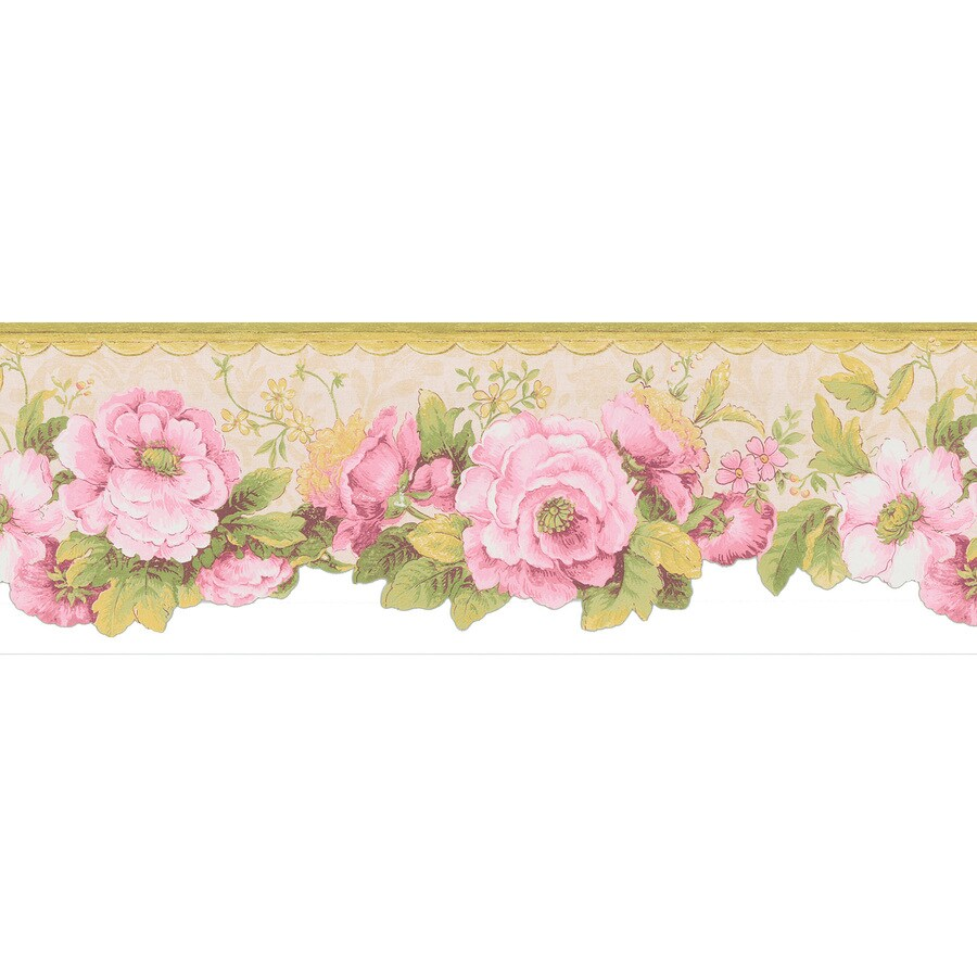 Shop brewster wallcovering 7 pink floral prepasted for Prepasted wallpaper