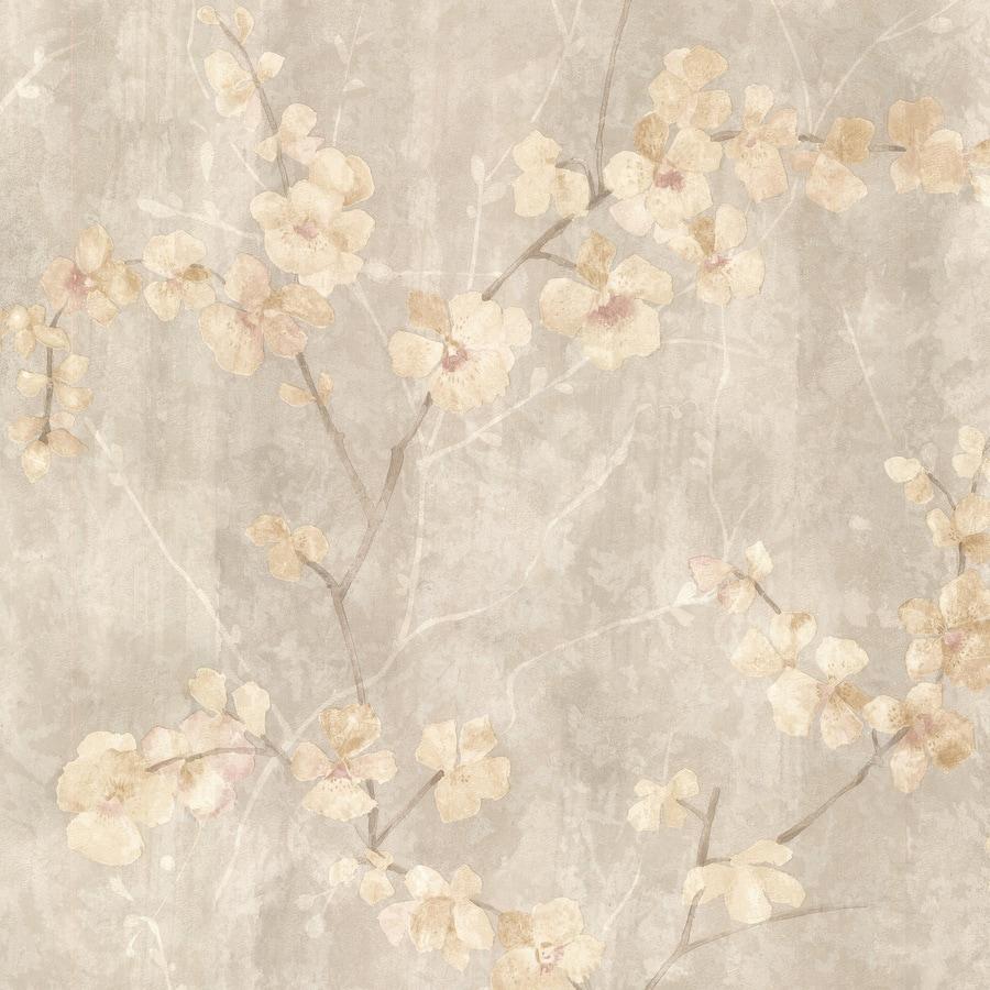 Shop brewster wallcovering beige peelable vinyl prepasted for Prepasted wallpaper