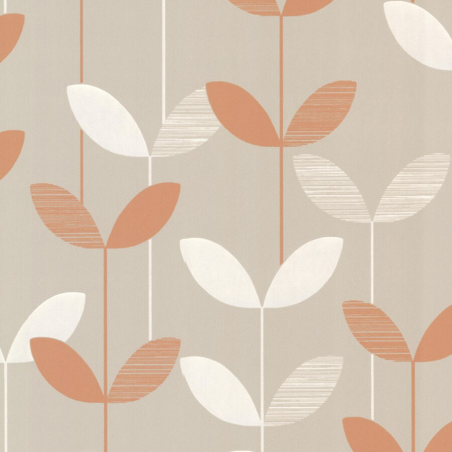 Brewster Wallcovering Orange and Grey Strippable Non-Woven Paper Unpasted Classic Wallpaper