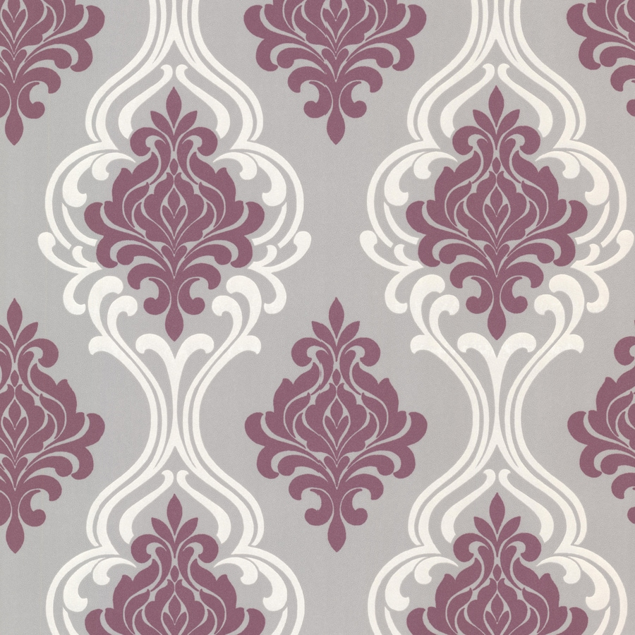 Brewster Wallcovering Purple and Grey Strippable Non-Woven Paper Unpasted Classic Wallpaper
