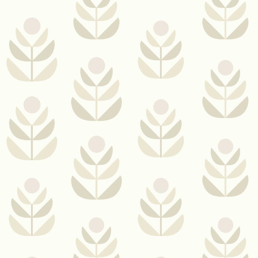 Brewster Wallcovering White and Beige Strippable Non-Woven Paper Unpasted Classic Wallpaper