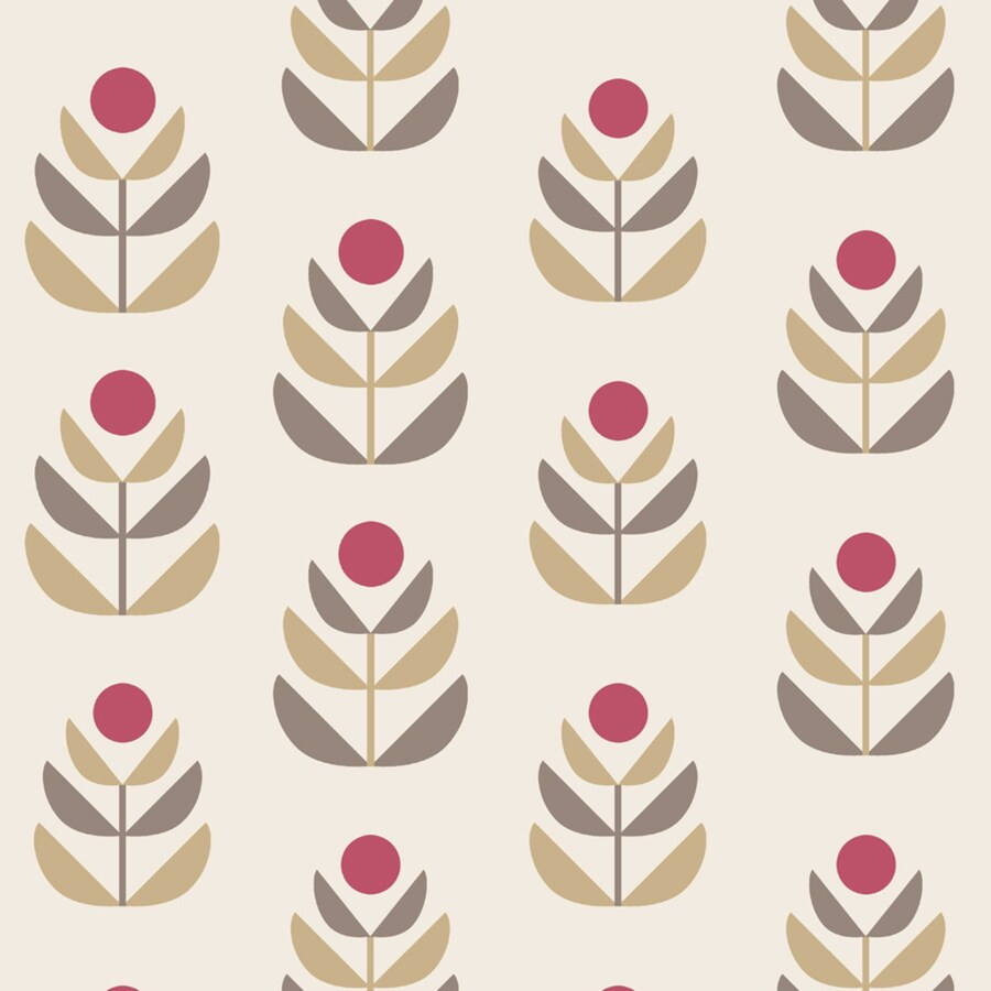 Brewster Wallcovering White and Red Strippable Non-Woven Paper Unpasted Classic Wallpaper