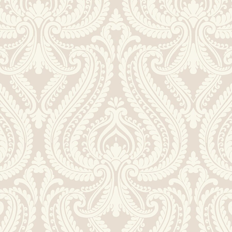 Brewster Wallcovering Beige and Grey Strippable Non-Woven Paper Unpasted Classic Wallpaper