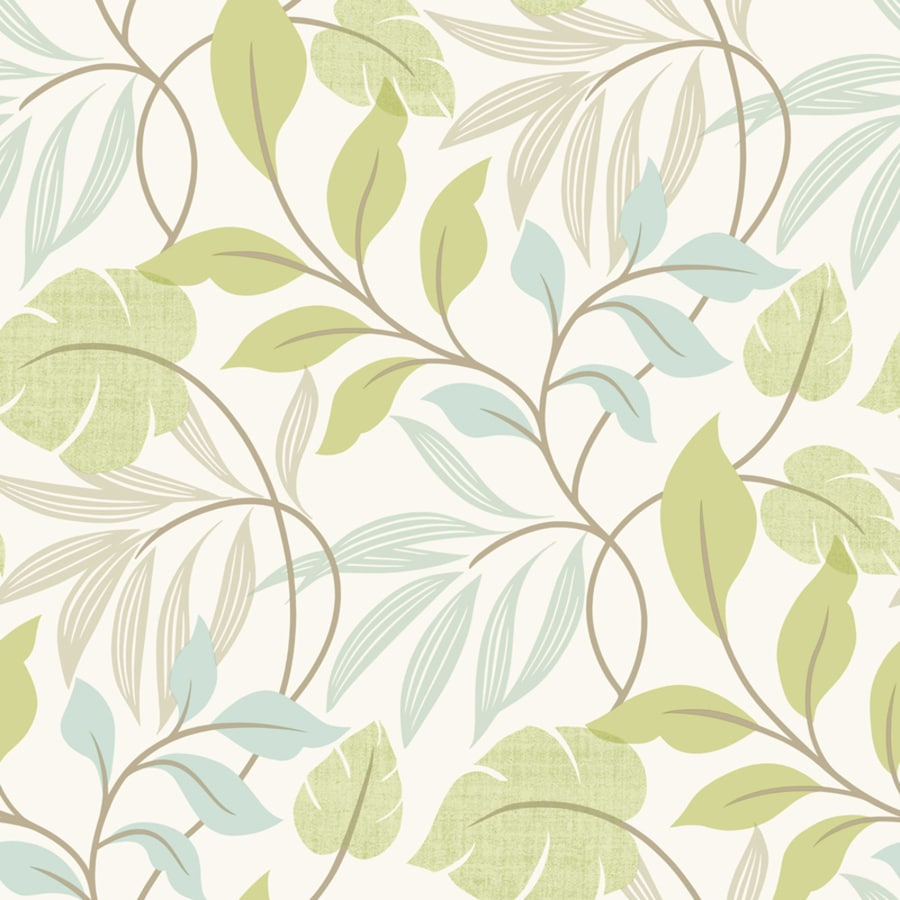Brewster Wallcovering White and Green Strippable Non-Woven Paper Unpasted Classic Wallpaper