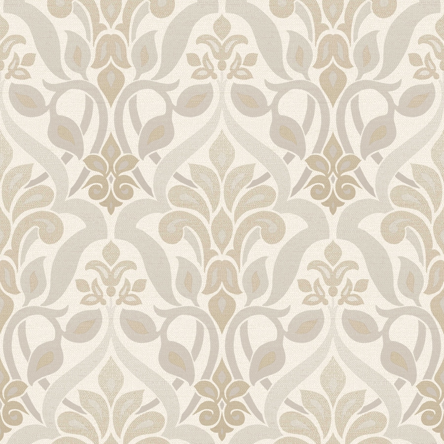 Brewster Wallcovering White and Grey Strippable Non-Woven Paper Unpasted Classic Wallpaper