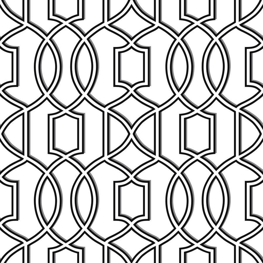 Nuwallpaper 30 75 Sq Ft Black White Vinyl Geometric Self Adhesive Peel And Stick Wallpaper In The Wallpaper Department At Lowes Com