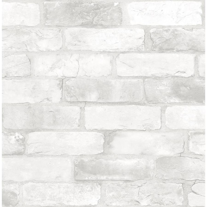 Wallpops Nuwallpaper 30 75 Sq Ft White Vinyl Brick Self Adhesive Peel And Stick Wallpaper In The Wallpaper Department At Lowes Com