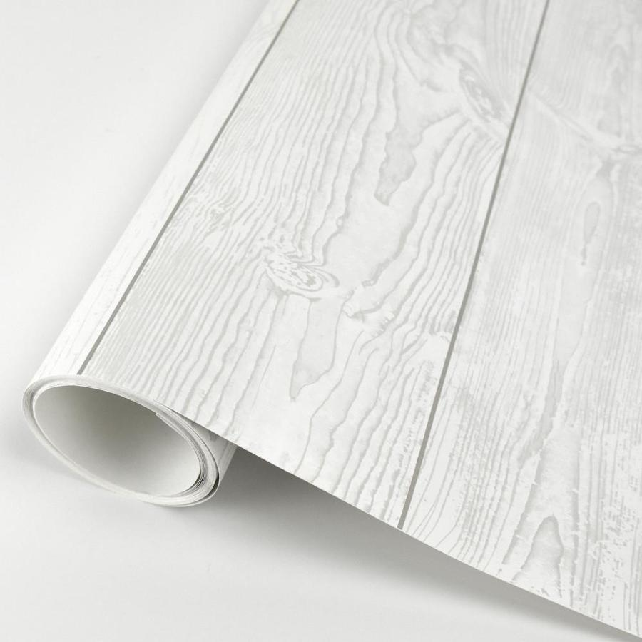 Scott Living 30 75 Sq Ft White Vinyl Textured Wood 3d Self Adhesive Peel And Stick Wallpaper In The Wallpaper Department At Lowes Com