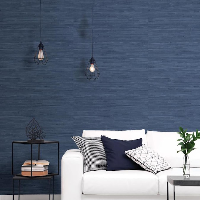 Scott Living 30 75 Sq Ft Indigo Vinyl Textured Abstract 3d Self Adhesive Peel And Stick Wallpaper In The Wallpaper Department At Lowes Com