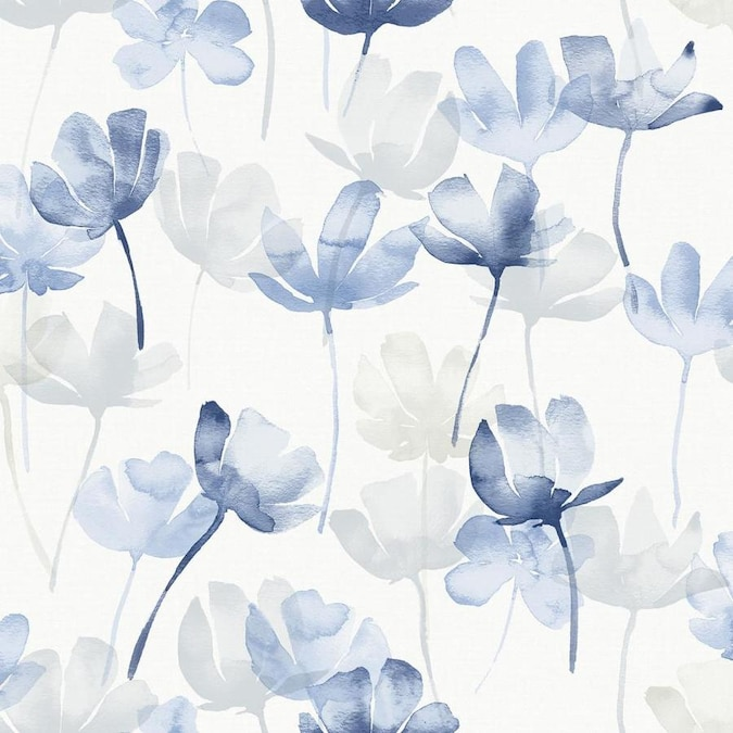 Scott Living 30 75 Sq Ft Blue Vinyl Floral Self Adhesive Peel And Stick Wallpaper In The Wallpaper Department At Lowes Com