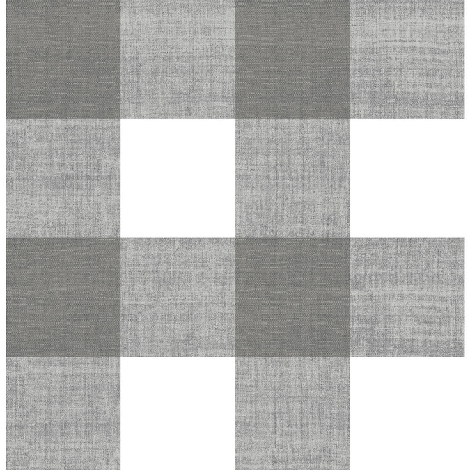 Scott Living 30 75 Sq Ft Charcoal Vinyl Plaid Self Adhesive Peel And Stick Wallpaper In The Wallpaper Department At Lowes Com