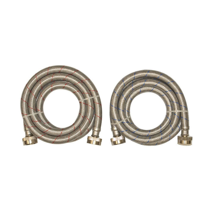 EASTMAN 2-Pack 6-ft 1,500-PSI Stainless Steel Washing Machine Connectors