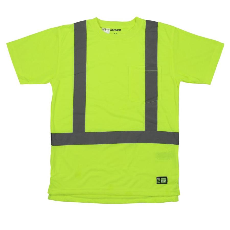 BERNE APPAREL 5XL-Long Safety Yellow High Visibility (Ansi Compliant) Enhanced Visibility (Reflective) T-Shirt
