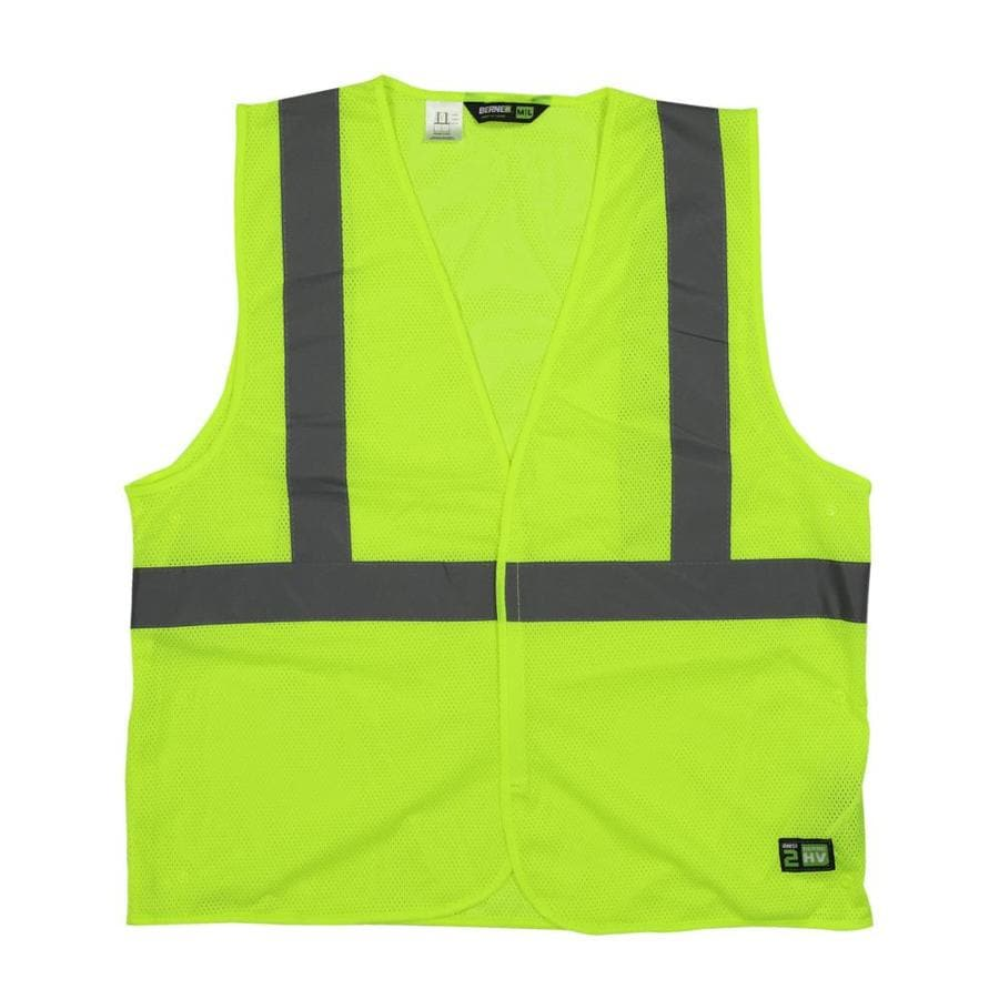 BERNE APPAREL XL/2XL Hi-Vis Yellow Polyester High Visibility Reflective Safety Vest