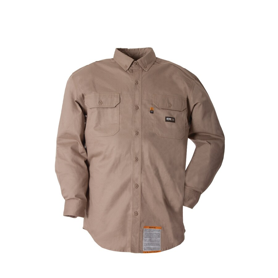 BERNE APPAREL Men's Large Khaki Twill Cotton-Nylon Blend Long Sleeve Uniform Work Shirt