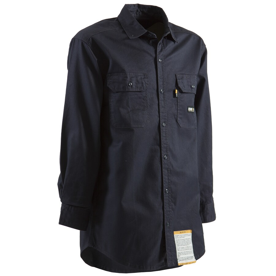 BERNE APPAREL Men's Medium Navy Twill Cotton-Nylon Blend Long Sleeve Uniform Work Shirt