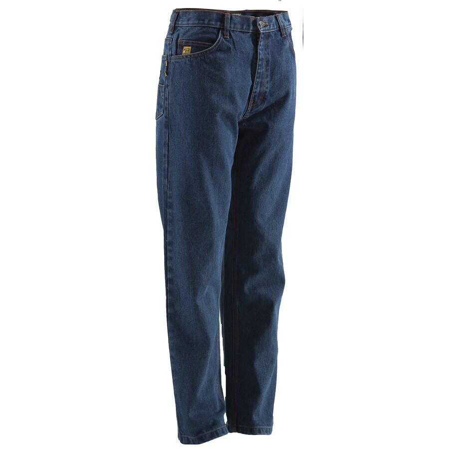 BERNE APPAREL Men's 38x34 Stone Wash Dark Denim HRC 2 Work Pants