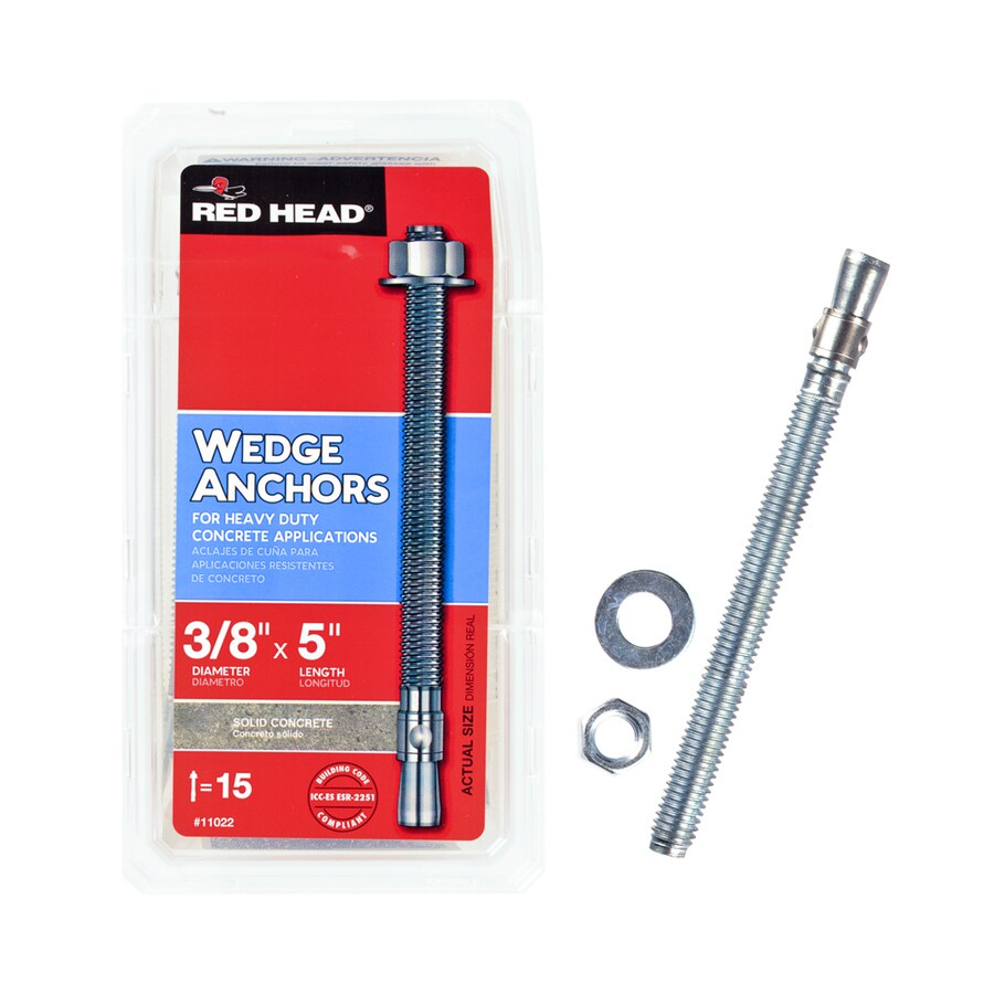 Red Head 15-Pack 3/8-in x 5-in Wedge Anchors for Solid Concrete