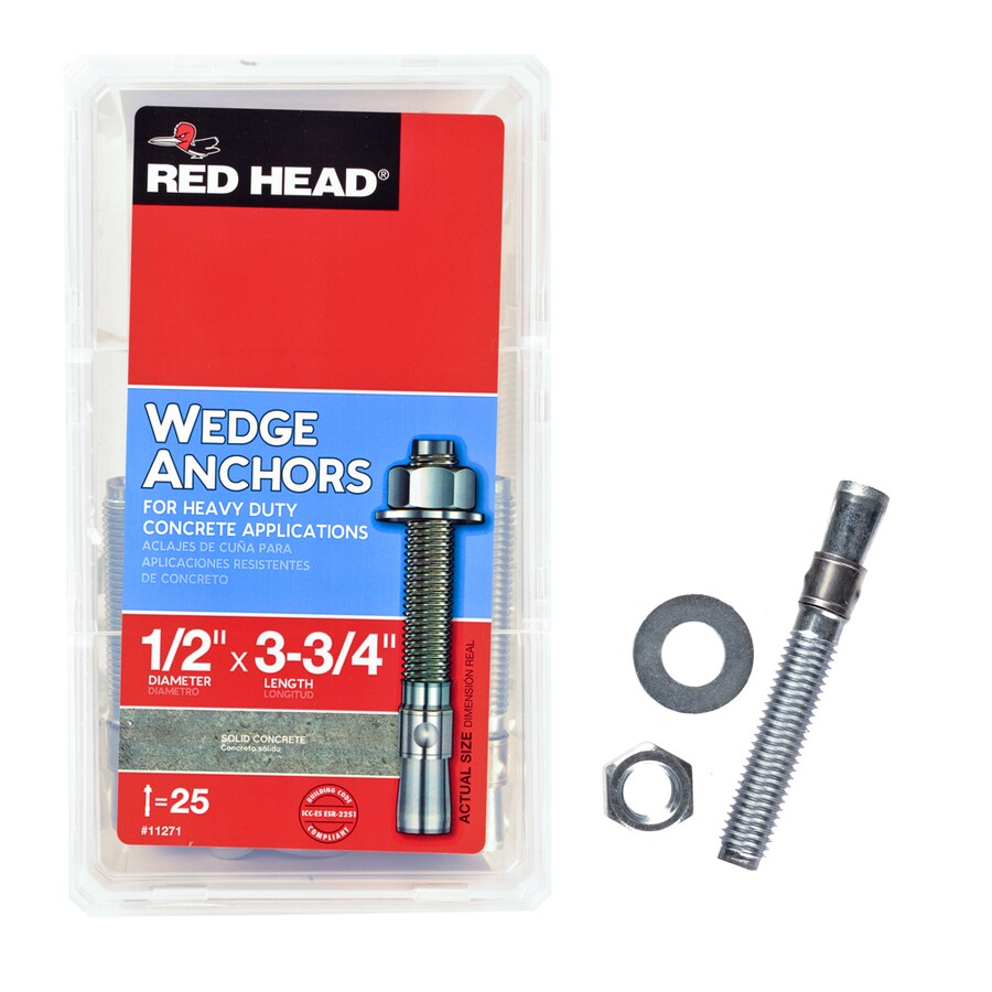 Red Head 25-Pack 1/2-in x 3-3/4-in Wedge Anchors for Solid Concrete