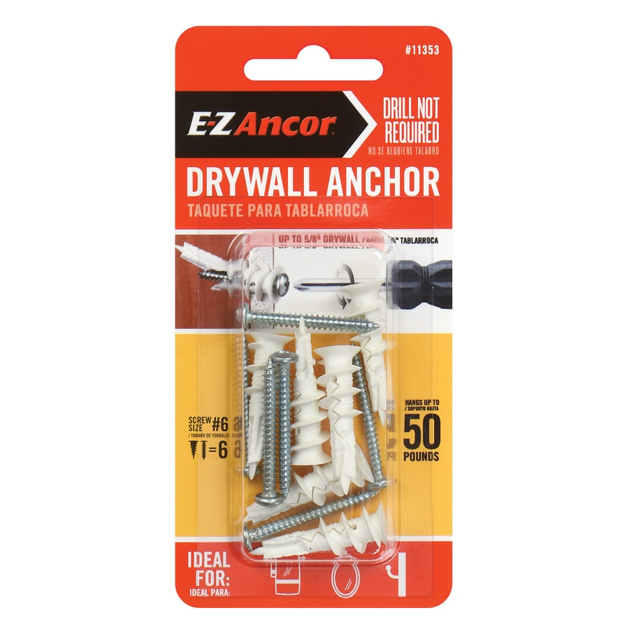 E-Z Ancor 6-Pack 1.25-in x 0.5-in Self-Drilling White Plastic Nylon Light-Duty Standard Drywall Anchors with Screws