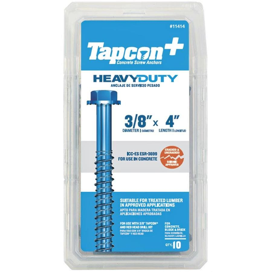 Tapcon 10-Pack 4-in x 0.375-in Blue Steel Heavy-Duty All-Purpose Anchors with Screws