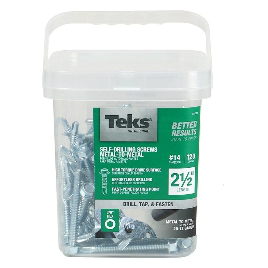 Teks 120-Count #14 x 2.5-in Zinc-Plated Self-Drilling Socket Hex-Drive Interior Standard (SAE) Sheet Metal Screws
