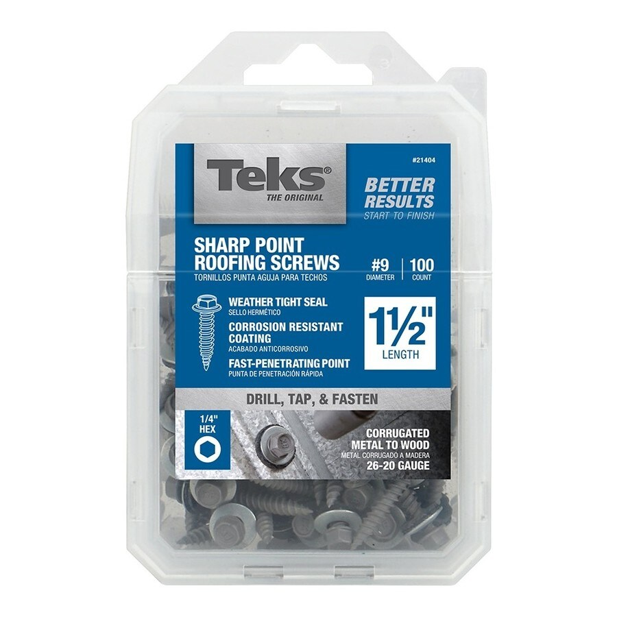 Teks 100-Count #9 x 1.5-in Zinc-Plated Self-Drilling Interior/Exterior Roofing Screws