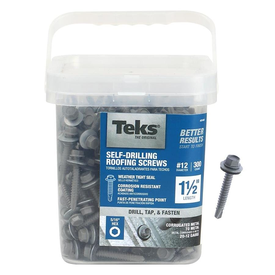 Teks 300-Count #12 x 1.5-in Zinc Plated Self-Drilling Interior/Exterior Roofing Screws